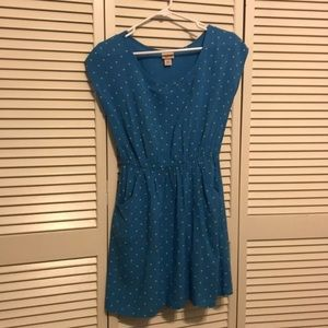 Mossimo turquoise dress w/ lime green polka dots